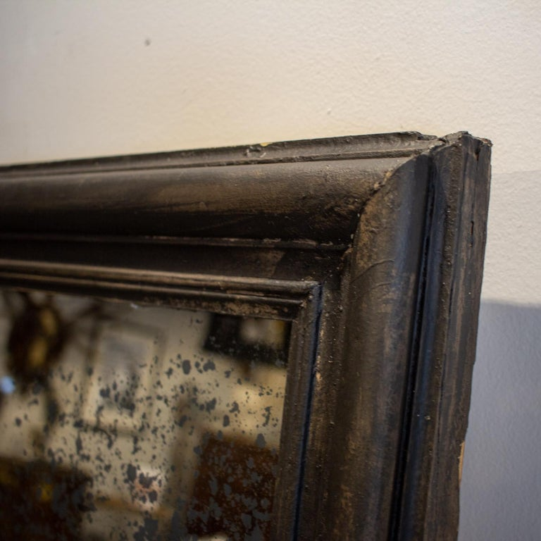 Antique French Full-Length Mirror in Hand Painted Black Frame For Sale 7