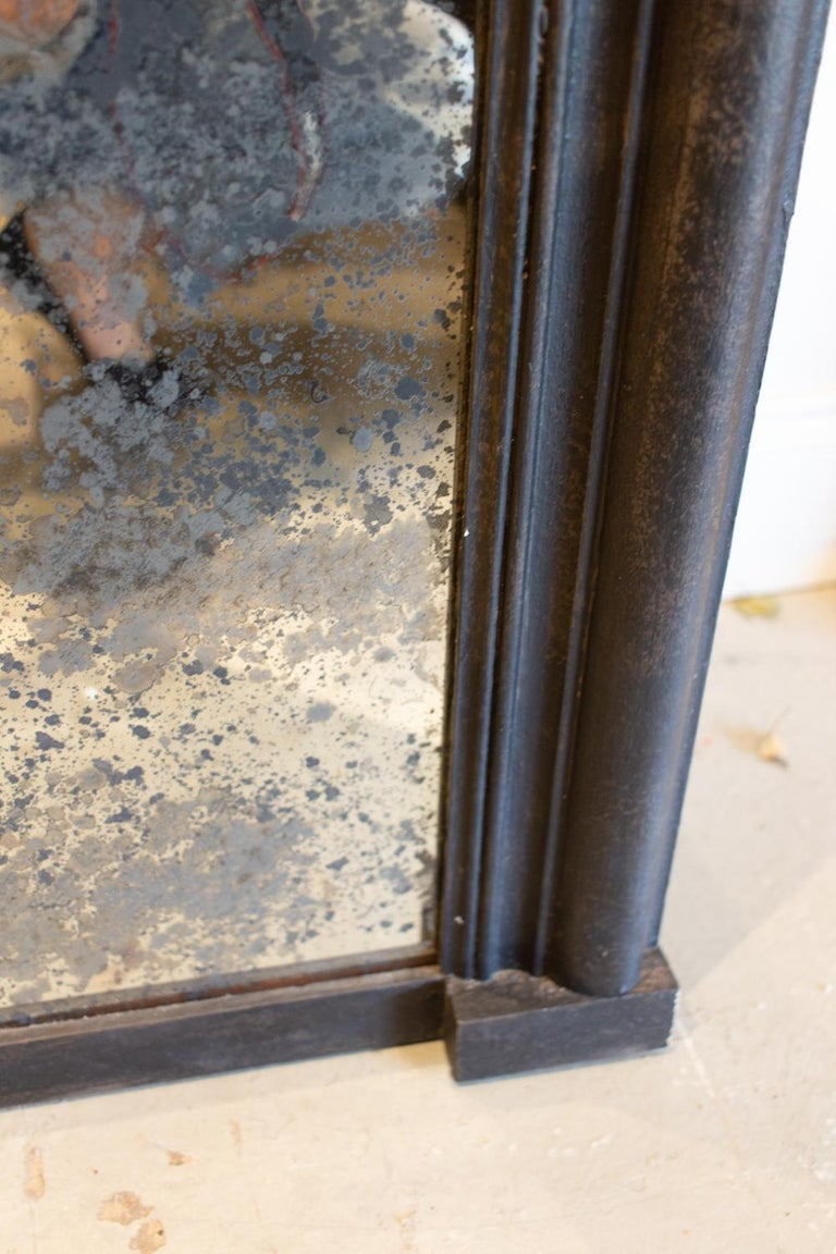 Antique French Full-Length Mirror in Hand Painted Black Frame For Sale 9