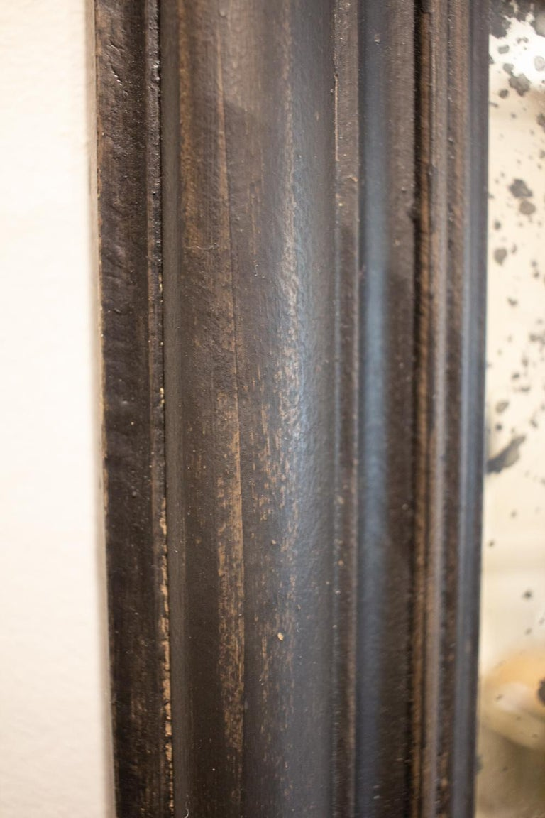 Antique French Full-Length Mirror in Hand Painted Black Frame For Sale 11