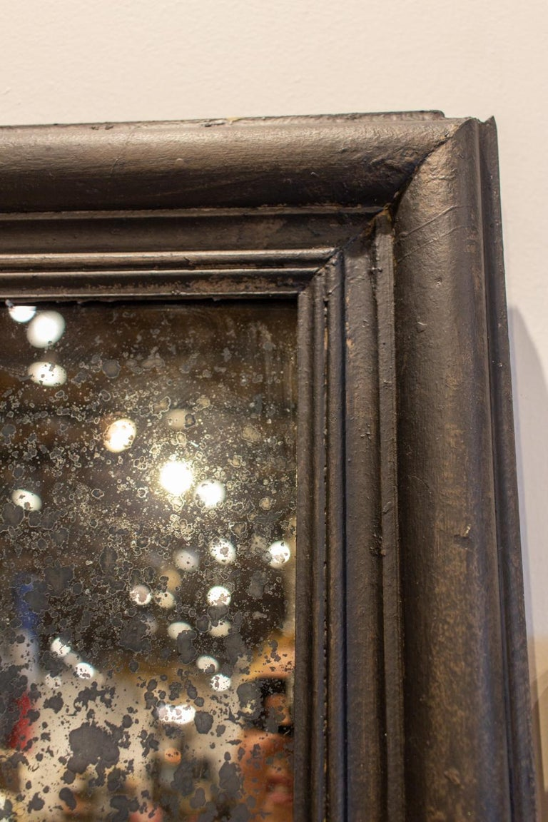 Early 20th Century Antique French Full-Length Mirror in Hand Painted Black Frame For Sale