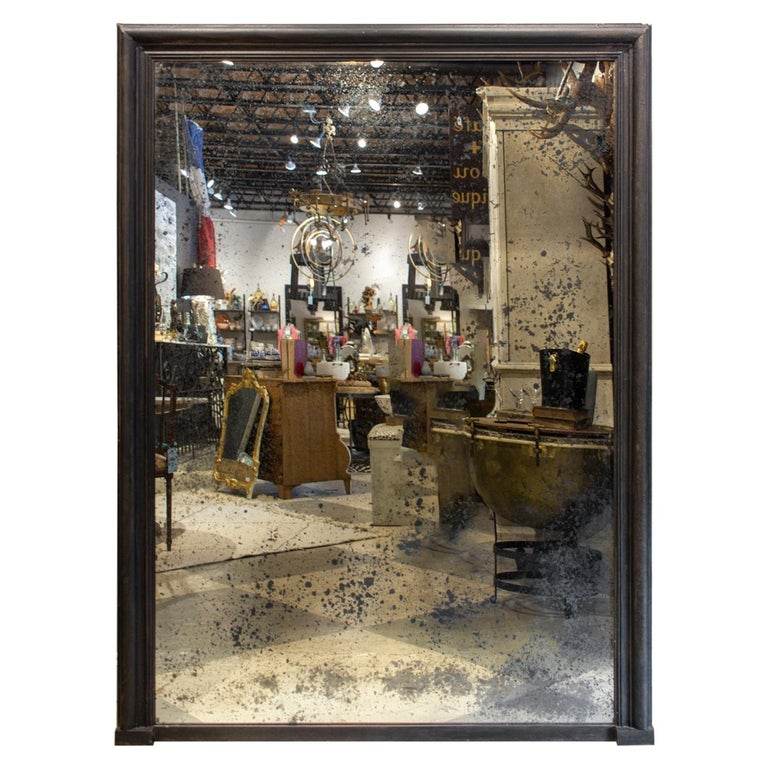 Antique French Full-Length Mirror in Hand Painted Black Frame For Sale