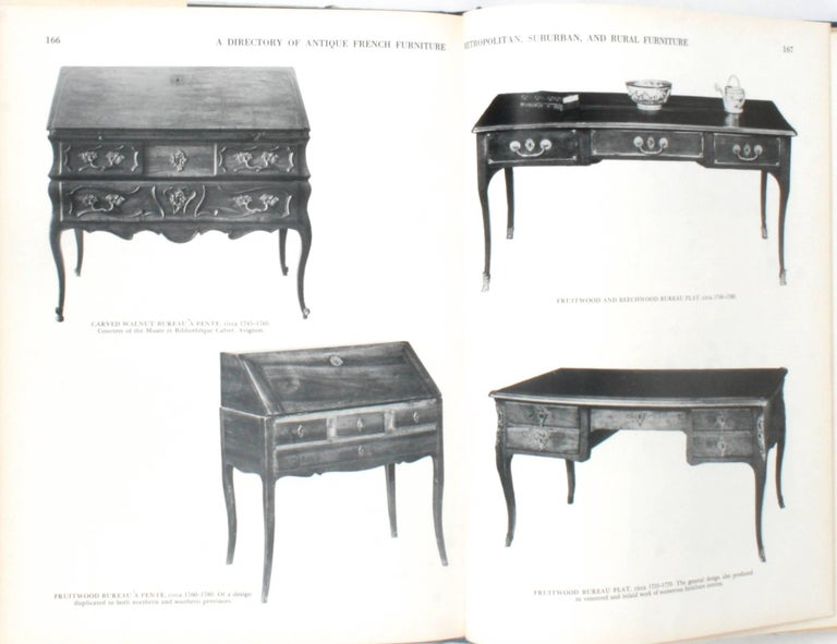 Antique French Furniture by F. Lewis Hinckley. New York: Crown Publishers, Inc., 1967. 1st Ed hardcover with dust jacket. 214 pp. An illustrated directory of antique French furniture from 1733-1800 that covers the large furniture centers of the