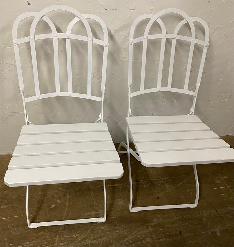 Napoleon III Antique French Garden Folding Dining Chairs For Sale