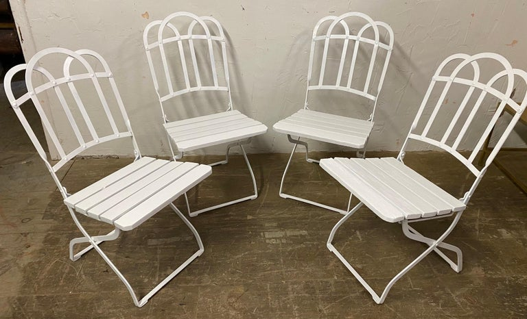 Painted Antique French Garden Folding Dining Chairs For Sale