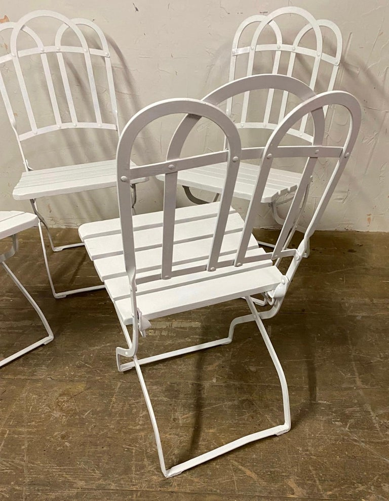 Antique French Garden Folding Dining Chairs In Good Condition For Sale In Great Barrington, MA