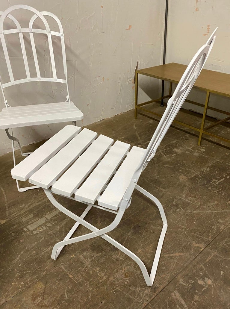 20th Century Antique French Garden Folding Dining Chairs For Sale