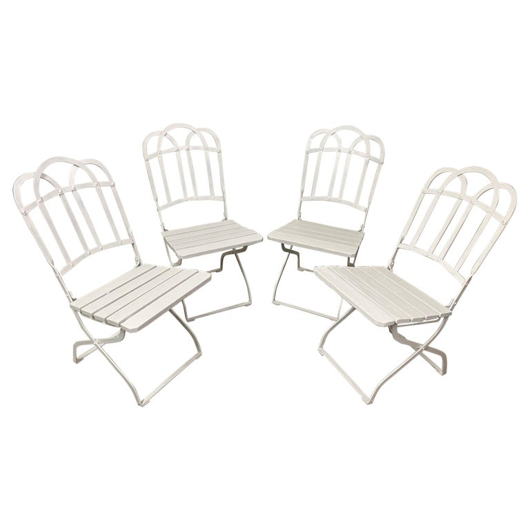 Antique French Garden Folding Dining Chairs For Sale