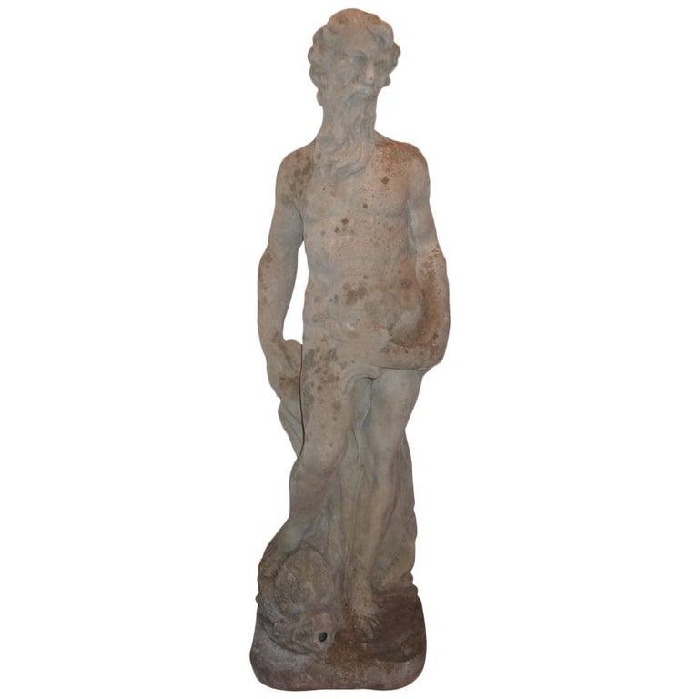 Antique French Garden Fountain or Sculpture of Poseidon For Sale
