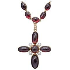 Antique French Garnet Pearl Cross Pendant Necklace 18 Carat Gold, circa 1850