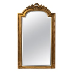 Antique French Gesso & Gilt Tall Wood Beveled Over Mantel Mirror, circa 1920