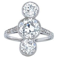 Antique French GIA 1.59 Carat Diamond Platinum Ring