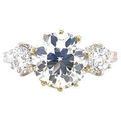 Antique French GIA 3.00 Carat Old European Cut Diamond Three Stone 18K Gold Ring