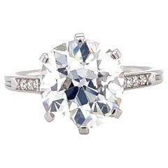 Antique French GIA 4.02 Carat Antique Cushion Diamond Platinum Engagement Ring