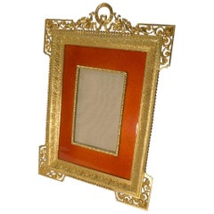 Antique French Gilded Bronze and Orange Enamel Picture Frame, circa 1900