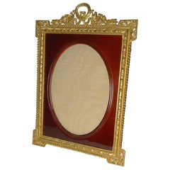 Antique French Gilded Bronze and Red Enamel Photograph/Picture Frame circa 1910
