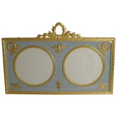 Antique French Gilded Bronze Double Photograph / Picture Frame, circa 1900
