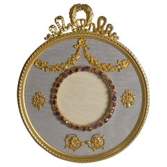 Antique French Gilded Bronze Photograph/Picture Frame, Amethyst Paste circa 1910