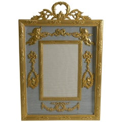 Antique French Gilded Bronze Photograph or Picture Frame circa 1900, Cherubs