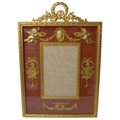 Antique French Gilded Bronze Picture Frame, Cherubs, circa 1900