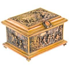 Antique French Gilt Brass and Bronze Jewellery Box Casket, AB Paris 19th Century