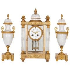 Antique French Gilt Bronze and Cut Glass Clock Set