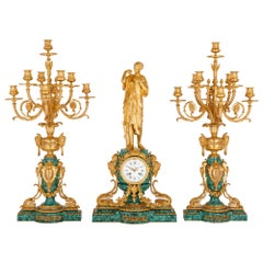 Antique French Gilt Bronze and Malachite Clock Set