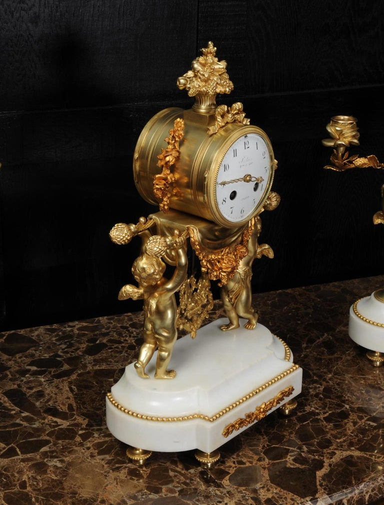 Antique French Gilt Bronze and Marble Cherub Clock Set with Visible Pendulum For Sale 6