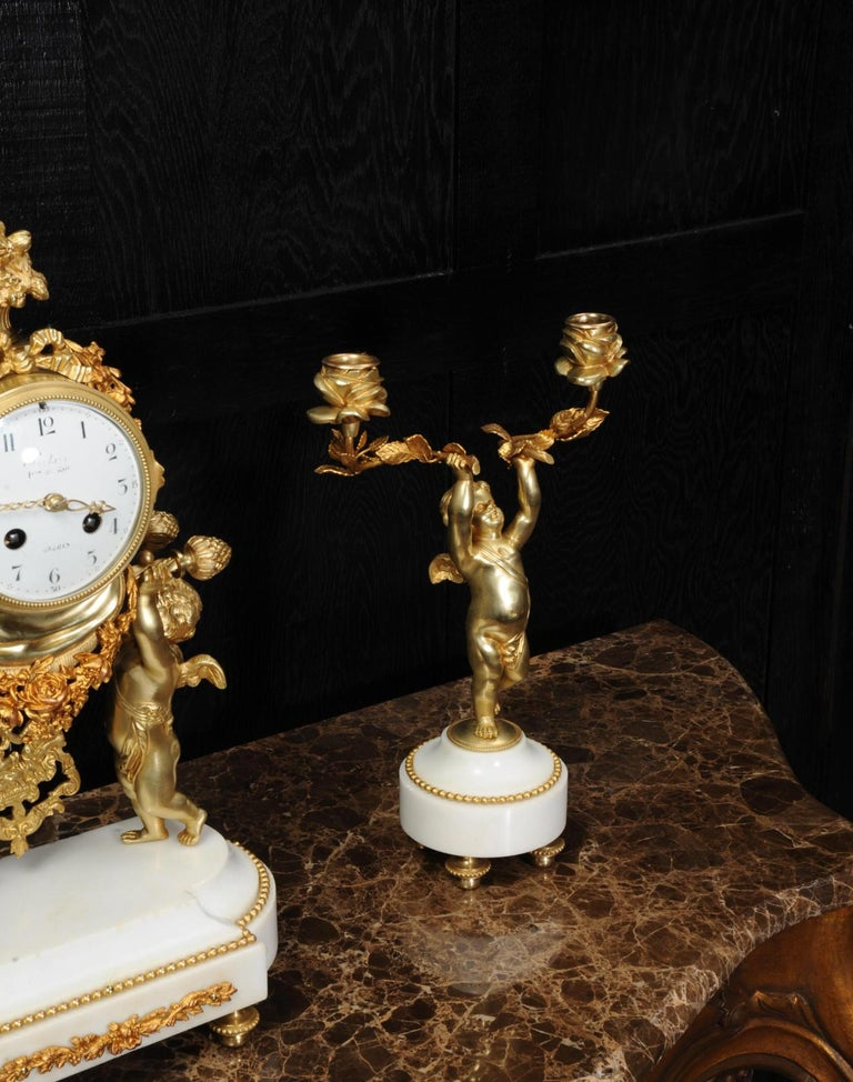 Antique French Gilt Bronze and Marble Cherub Clock Set with Visible Pendulum For Sale 11