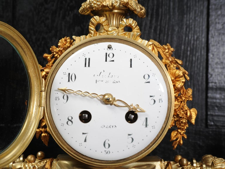Antique French Gilt Bronze and Marble Cherub Clock Set with Visible Pendulum For Sale 12