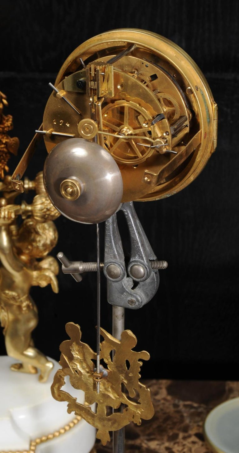 Antique French Gilt Bronze and Marble Cherub Clock Set with Visible Pendulum For Sale 14