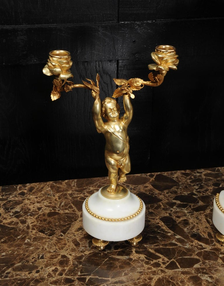 Antique French Gilt Bronze and Marble Cherub Clock Set with Visible Pendulum For Sale 3