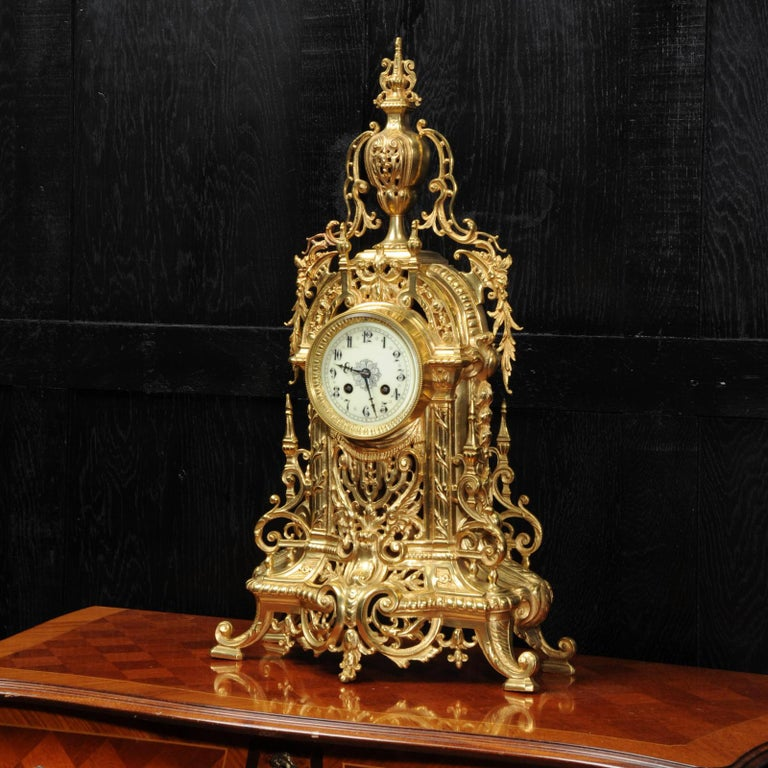 19th Century Antique French Gilt Bronze Baroque Clock For Sale