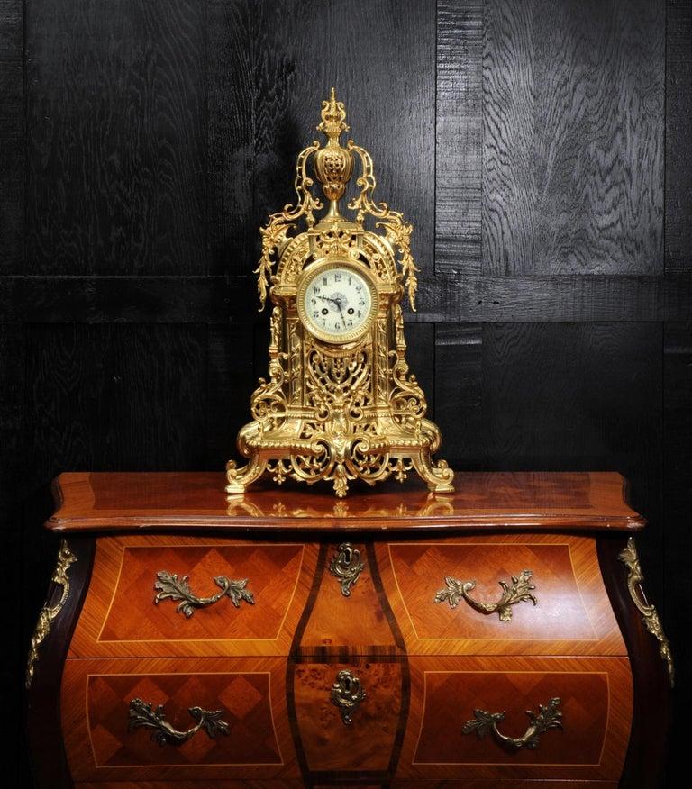 Antique French Gilt Bronze Baroque Clock For Sale 1