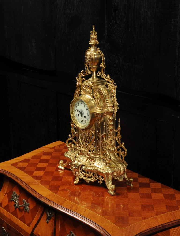 Antique French Gilt Bronze Baroque Clock For Sale 2