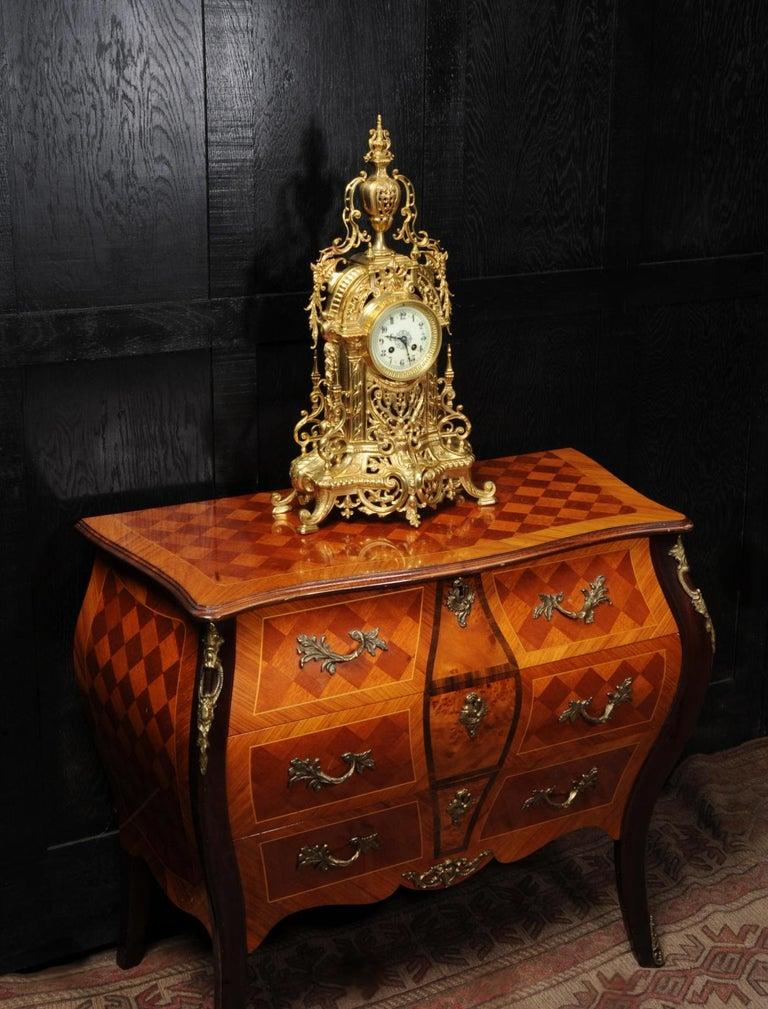 Antique French Gilt Bronze Baroque Clock For Sale 3