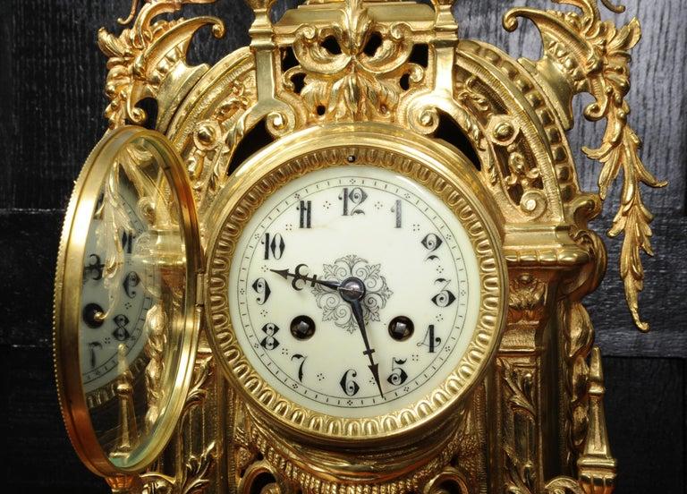 Antique French Gilt Bronze Baroque Clock For Sale 5