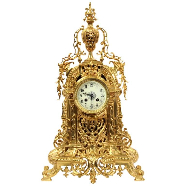 Antique French Gilt Bronze Baroque Clock For Sale