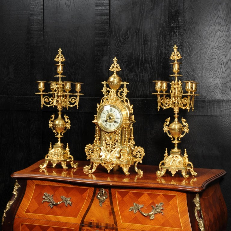Antique French Gilt Bronze Baroque Clock Set In Good Condition For Sale In Belper, Derbyshire