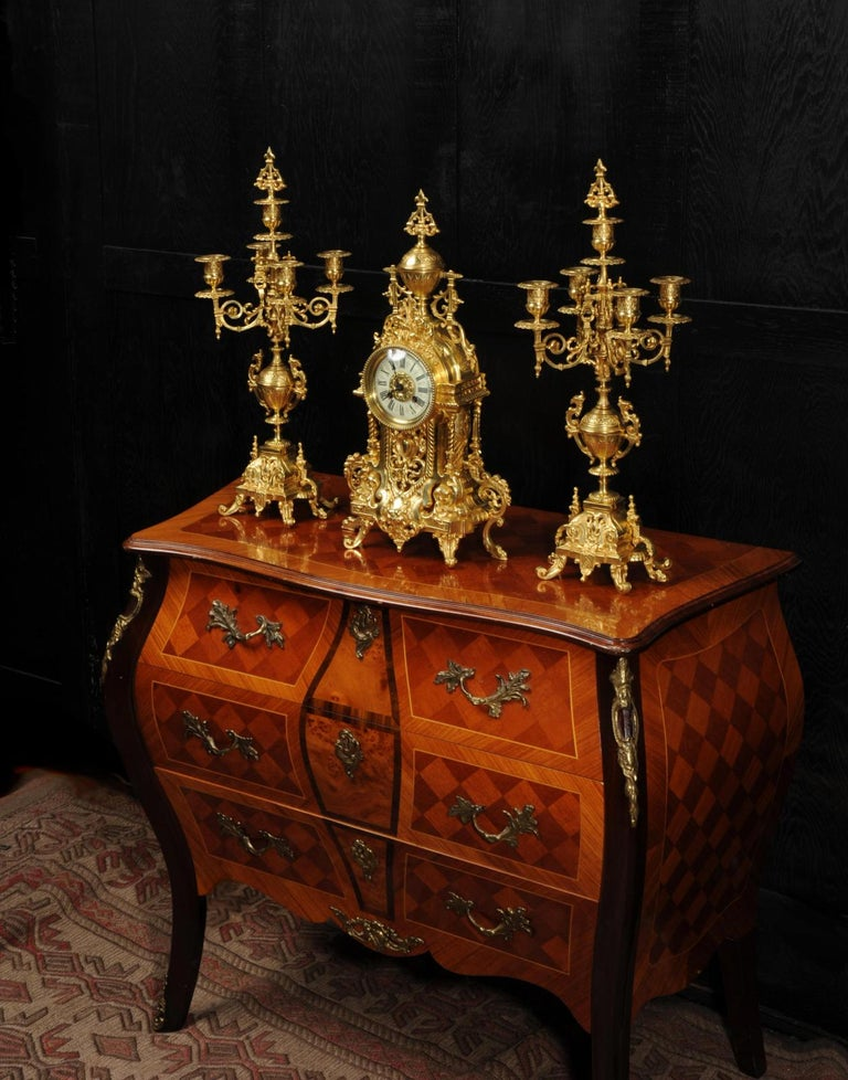 19th Century Antique French Gilt Bronze Baroque Clock Set For Sale