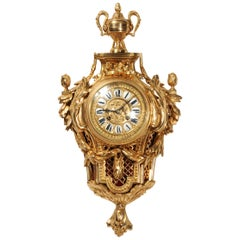 Antique French Gilt Bronze Cartel Wall Clock