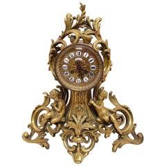 Antique French Gilt Bronze Clock Cherubs Putti Maison H. Riondet Napoleon III