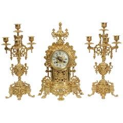 Antique French Gilt Bronze Clock Set