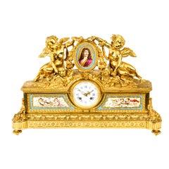 Antique French Gilt Bronze Clock with Portrait Plaque of Molière, 19th Century