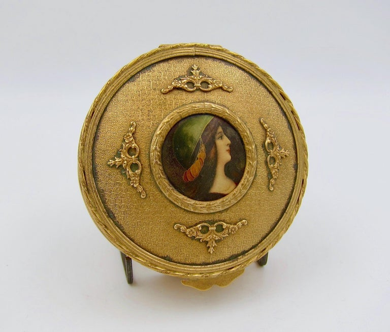 Napoleon III Antique French Gilt Bronze Vanity Box with a Hand Painted Enamel Portrait For Sale