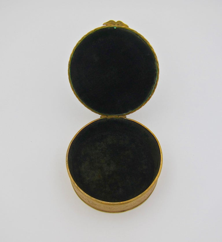 Antique French Gilt Bronze Vanity Box with a Hand Painted Enamel Portrait For Sale 2