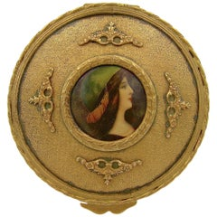 Antique French Gilt Bronze Dresser Box with a Hand Painted Enamel Portrait