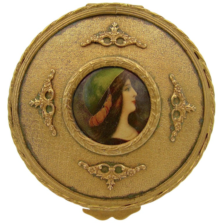 Antique French Gilt Bronze Vanity Box with a Hand Painted Enamel Portrait For Sale