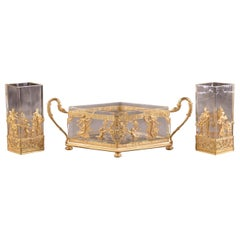 Antique French Gilt Bronze, Empire Style Cut Crystal, Jardinière, Centerpiece