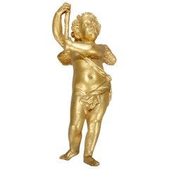 Antique French Gilt Bronze Figural Cherub Statue Element, circa 1890