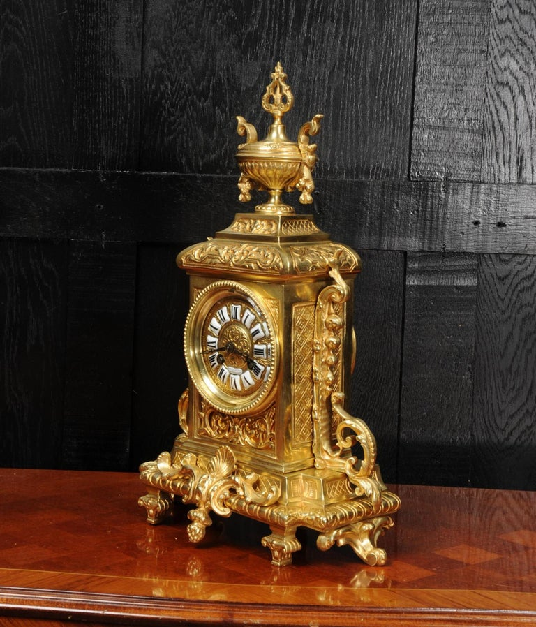 19th Century Antique French Gilt Bronze Louis XVI Clock For Sale